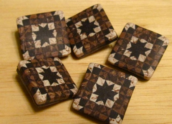 Polymer clay quilt square shank button.
