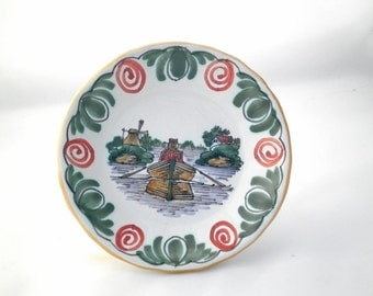Vintage Dutch Friesian Plate with Windmill and Rowing Boat - Workum