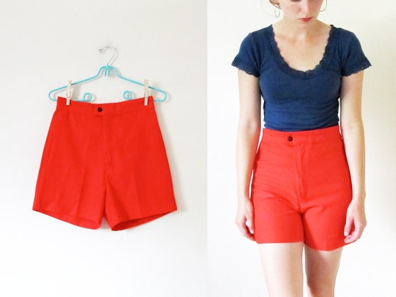 "vintage 1960s Shorts // Mod Tomato Red High Waisted // 26"" Waist -- XS/S"
