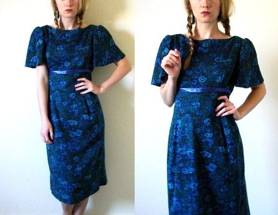 vintage 1950s Dress // Floral Print // Jewel Tone Blue, Purple and Green // S/M