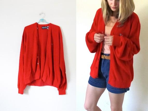 vintage 1980s Sweater Cardigan // Grandpa // Cherry Red // Button // Turtle -- M/L/XL