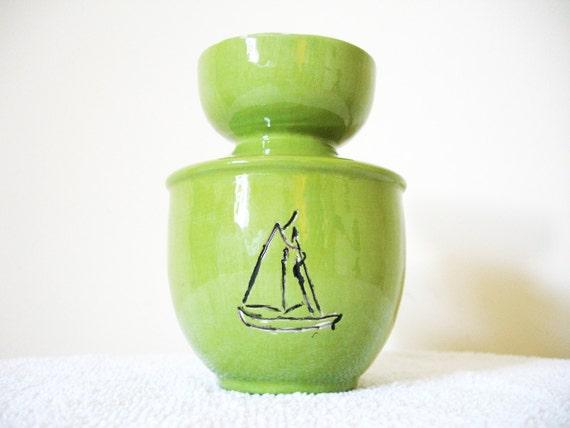 vintage vase 60s nautical 1960s grass green sailboat decorative little