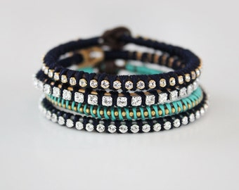 Rhinestone and Leather Bracelet - Stacking Friendship Bracelet