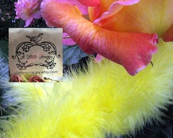 Yellow Bright Small Short Haired Marabou Boa Feathers