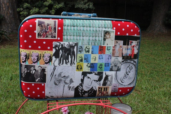 andy warhol decoupage vintage luggage