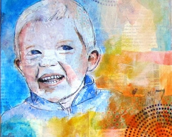 Custom made mixed media portraits