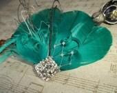 Emerald Green Feather Fascinator, Vintage style,  Feather Hair Clip, Bridal  Fascinator,Wedding Hair Clip, Rhinestones