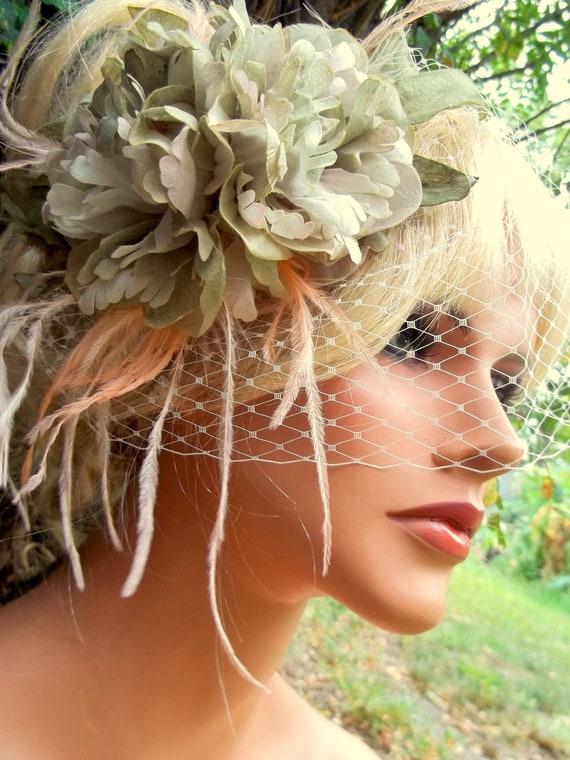 Vintage flower fascinator french net birdcage bridal veil  fascinator,moss green, peach,  ivory fascinator