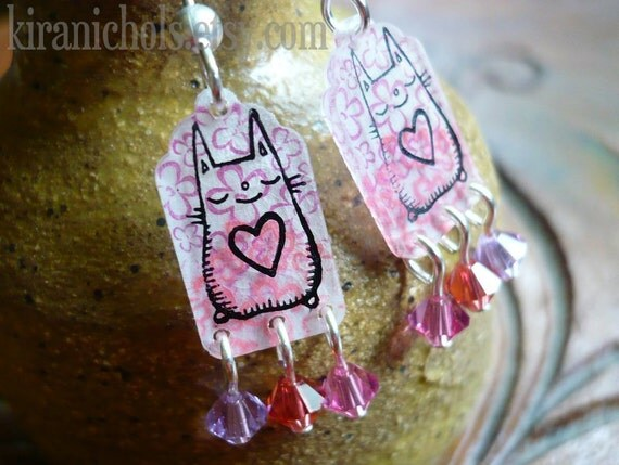 Happy Monster Pretty Pink Dangle Earrings
