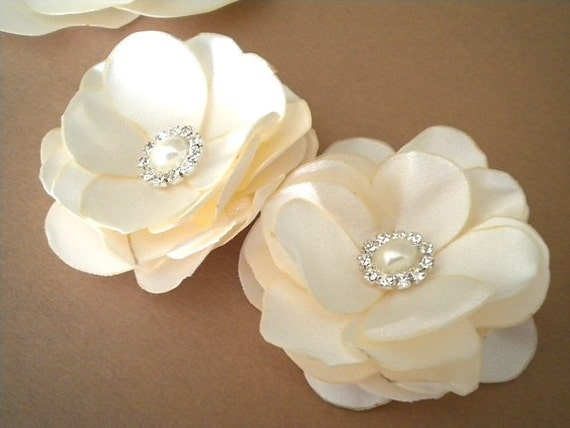 STORE CLOSING Reduced 2 Ivory - Bridal Hair Clip Roses with Pearl and Rhinestones  Satin Flower  Handmade Wedding