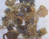 90 stamped filigree findings - .5 to 1.75 inches - assorted sizes, finishes, shapes