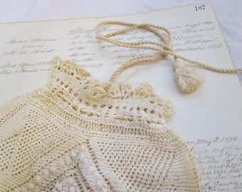 vintage handmade lace knitting drawstring purse -  RETICULE - 1930s or earlier, tassles
