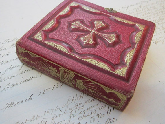 antique GEMTYPE album - empty aside with small military albumen photos - red leather with CROSS, gilt accents - circa late 1800s