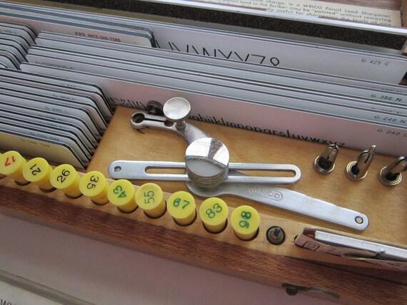 vintage WRICO lettering kit for scriber lettering - wooden box, complete
