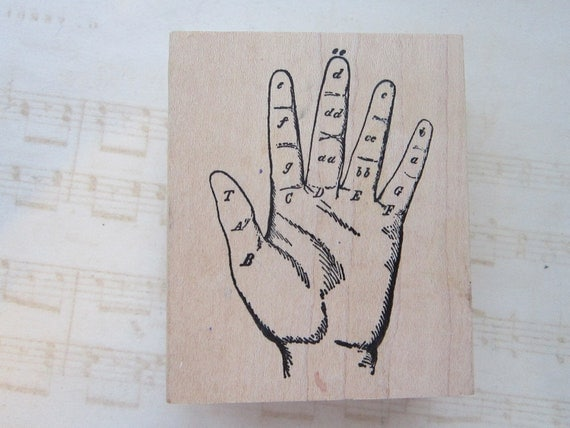 rubber stamp - HAND, collage, art stamp - gently used