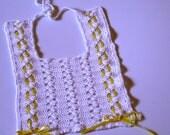 """Crochet Baby Bib  """"Topsy Turvy Yellow Satin Ribbon"""" Design"""