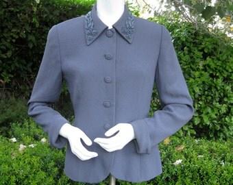 ZELDA 1940s style curvy jacket blazer slate gray with gun metal beading beauty  4 6
