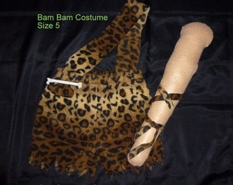 Bam Bam Outfit/Costume with Club Croods Costume Caveman Costume Flintstones Costume  Available in Sizes 24 Mos. to Size 6