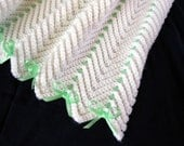White with Green Zigzag Afghan