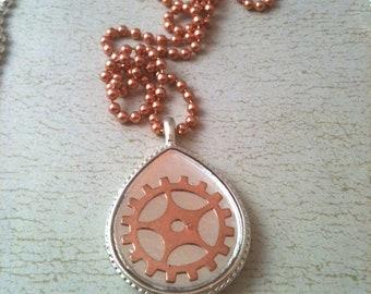 Silver Teardrop with Copper Gear Steampunk Necklace