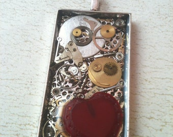 Silver Clockwork Clutter with Red Heart Steampunk Necklace