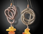 Copper and Bronze snake earrings