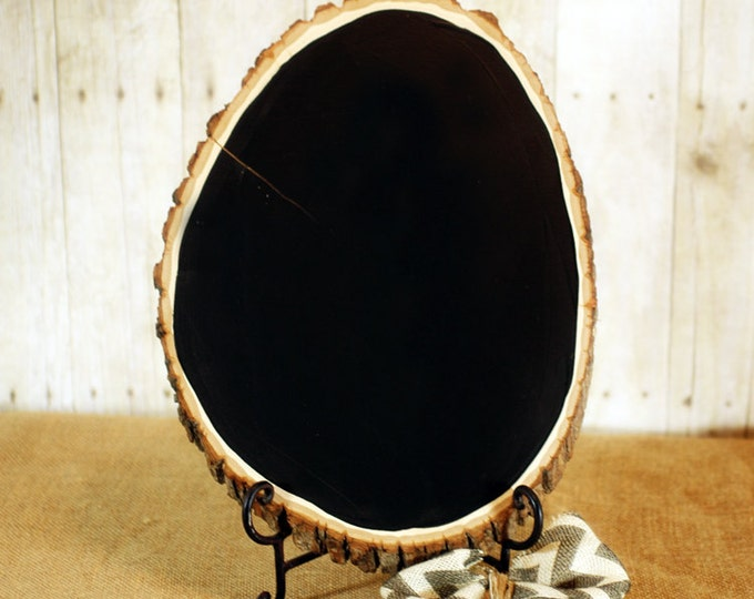 DISCOUNTED Large Rustic Wood Chalkboard, Oval Shaped