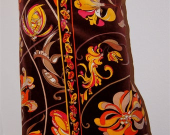 Vintage 60s EMILIO PUCCI Chocolate Brown Velvet Psychedelic Floral Print Maxi Skirt - M