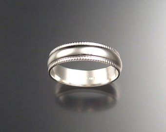 6 mm Heavy Wedding Ring band for men. Sterling Silver, any size