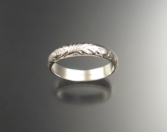 Ring band Sterling silver Victorian Floral pattern Wedding Ring made to order in your size