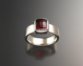 Garnet Ring Sterling Silver Square checkerboard cut stone Ring made to order in your Size