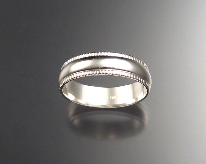6 mm Heavy Wedding Ring band for men. Sterling Silver made to order in your size