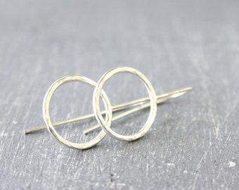 Open Circle hoop earrings / elegant shiny silver hoops / geometrical earrings / circles sterling silver Handmade under 50 /