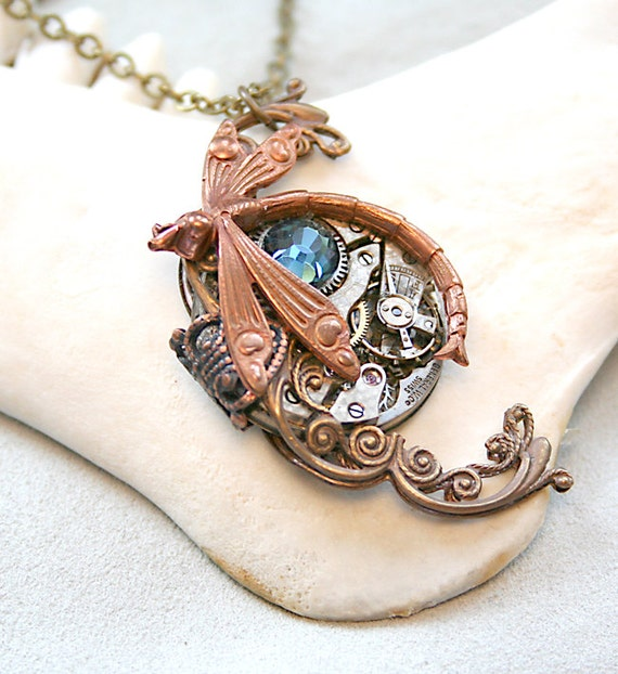 Steampunk Necklace Dragonfly Victorian Steampunk Nature