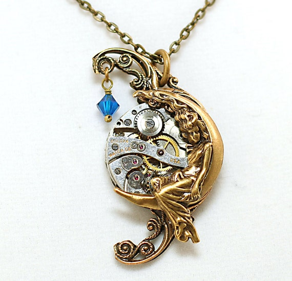 steunk necklace artemis moon goddess filigree by