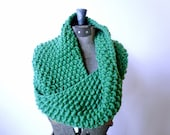 Knitted Neck Cowl scarf - spring green merino wool, extra soft and bulky