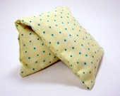 Unscented Eye Pillow - flax seed. Cream with small blue polka dots cotton slip cover - Christmas Gift