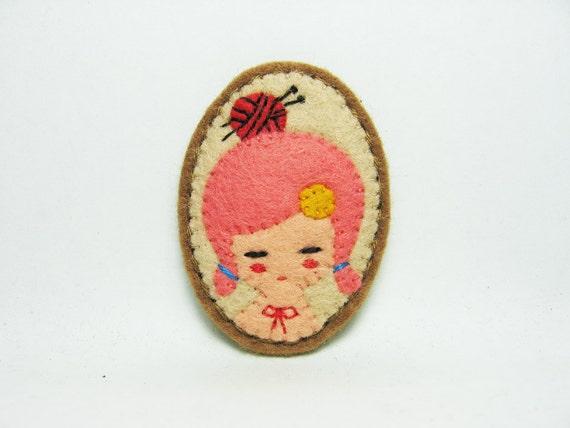 Daily Knitter felt pin