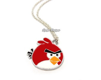 Red Bird Necklace - stainless steel chain funny necklace geeky necklace nerd necklace cute necklace kawaii necklace animal necklace geek