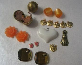 Mixed Vintage Brass, lucite, plastic, Swarovski crystal pendants, charms, lockets, cabochons etc.