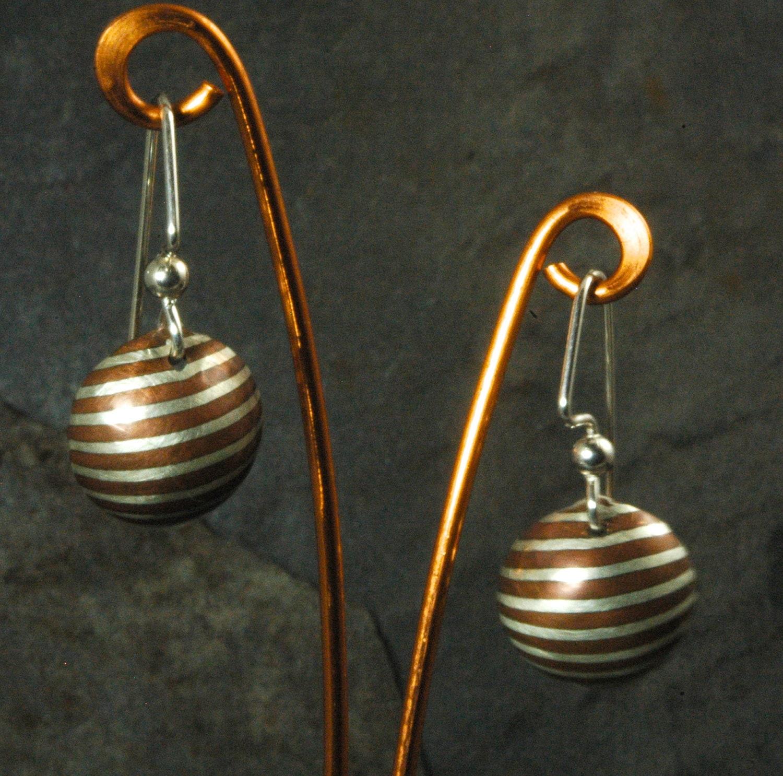 Mokume Gane Earrings: Mokume Gane Copper/Sterling Dangle Earrings