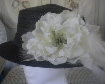Women's black dress hat with ivory peony and ivory feathers -ladies derby hat -tea party hat -church -wedding hat