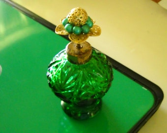 Vintage Antique green pressed glass perfume Bottle with gold metal lid base and green pearls