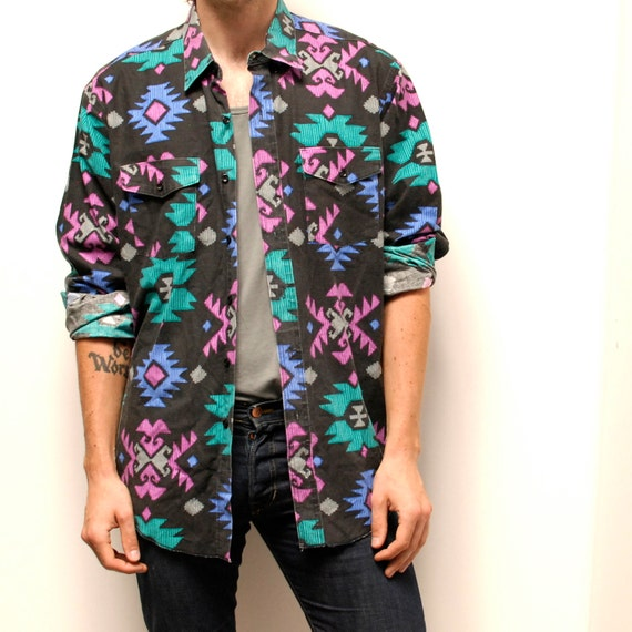 SOUTHWESTERN native american VIBRANT cotton button up shirt