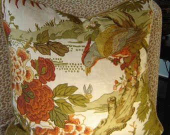 """Vintage PAYNE AND CO Botanical and Birds Print Linen Pillow Cover 18"""""""