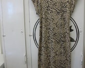 Vintage Tiger Print Cotton Dress w/ Back Cut Out - Womens Small/Med