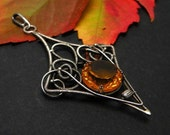Silver wire wrapped pendant with sunny citrine - PROMOTION was 118