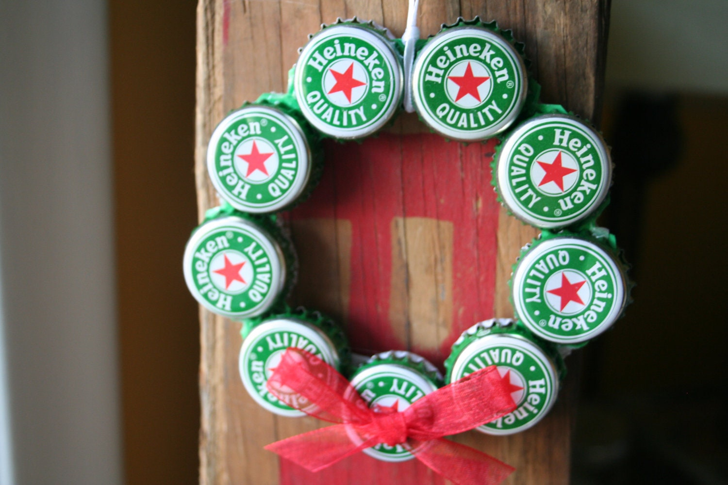 Heineken Beer Bottle Cap Christmas Ornament
