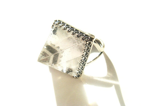 Quartz Crystal Pyramid Ring Solid Sterling Silver