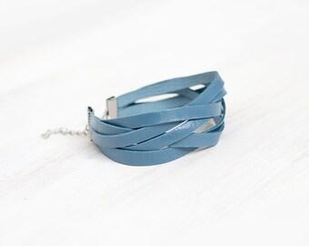 Sliced blue leather wrap bracelet
